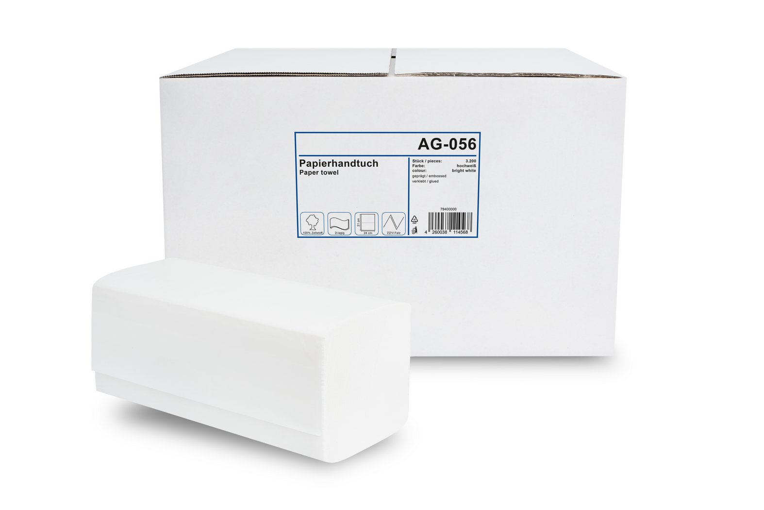 Karton = 4.000 St. Zick-Zack-Faltung 25x20,5cm 2-lagig Papierhandt/ücher 100/% Recycling-Material