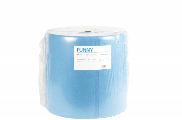 Funny Industriepapierrolle, 3-lagig, 100% Zellstoff, reißfest