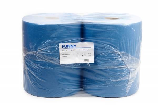 Funny Industriepapierrolle, 2-lagig, Zellstoff, blau, perforiert