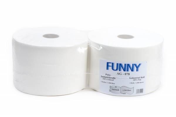 Funny Industriepapierrolle, 2-lagig, 100% Zellstoff, verleimt