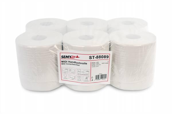SemyTop Handtuchrolle, 2-lagig, 100% Recycling, 6 Rollen, reißfest