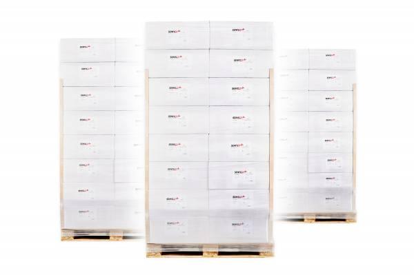 Palettenware mit 32 VE Papierhandtücher 2-lagig ZZ-Falz