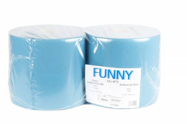 Funny Industriepapierrolle, 3-lagig, 100% Recycling, blau