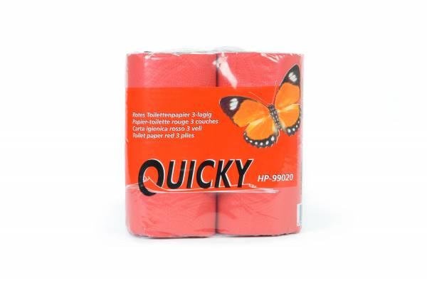 Quicky Toilettenpapier, 3-lagig, rot, Zellstoff